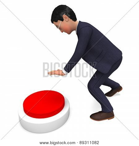 Businessman Pushing Button Indicates Professional Pressed And Corporate