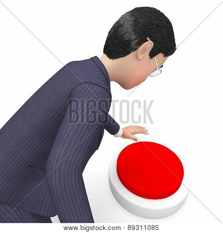 Businessman Pushing Button Shows Commercial Knob And Pushes