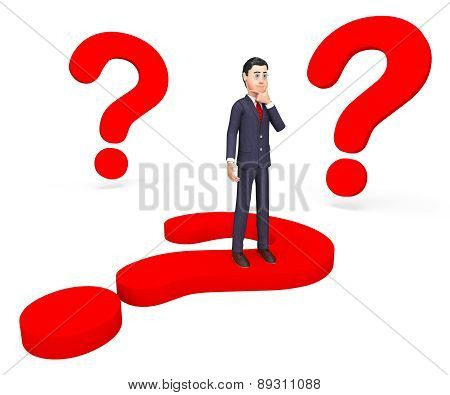 Businessman Thinking Shows Frequently Asked Questions And About