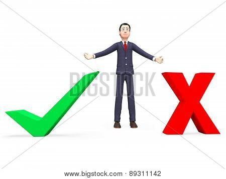 Businessman With Options Indicates Choose Businessmen And Commerce