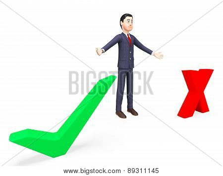Businessman With Options Represents Corporation Decisions And Commercial