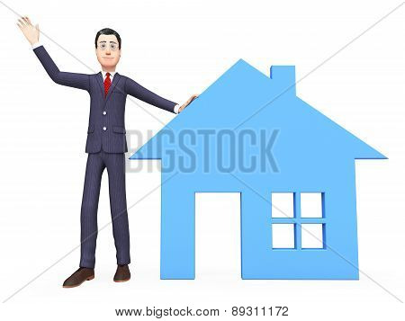 Real Estate Realtor Indicates Property Market And Builds