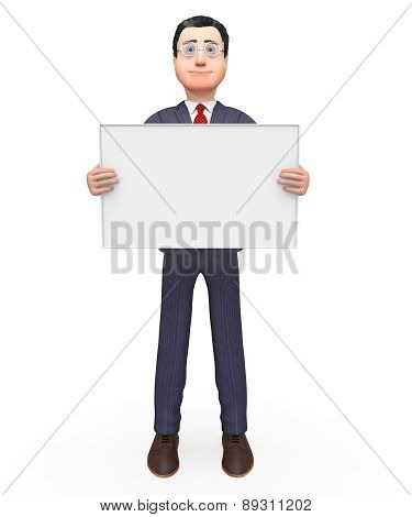 Businessman Holding Signboard Indicates Empty Space And Blank
