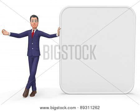 Businessman Presenting Indicates Empty Space And Announcement