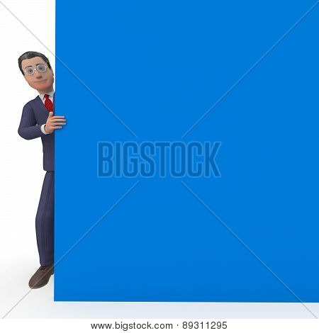 Businessman With Sign Represents Blank Space And Announce