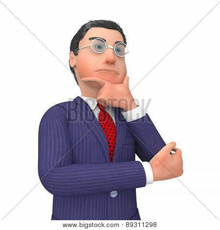 Businessman Thinking Indicates Confused Contemplating And Idea