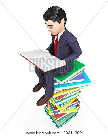 Businessman Reading Books Represents Faq Educated And Businessmen
