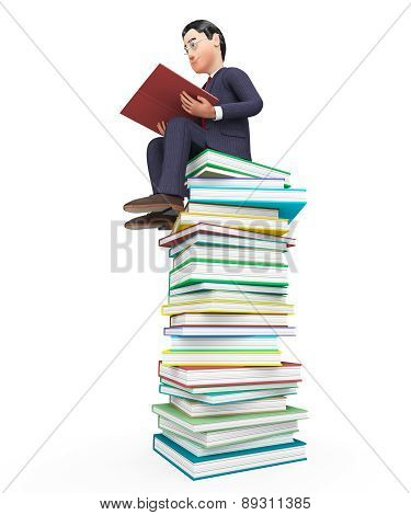 Businessman Reading Books Means Textbook Commercial And Learning