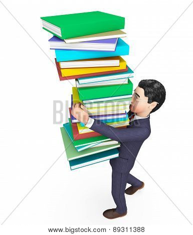 Businessman Carrying Books Represents Trade Corporate And Studying