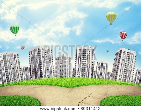 Cityscape under blue sky with crossroad