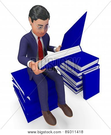Businessman Reading Books Means School Study And Knowledge