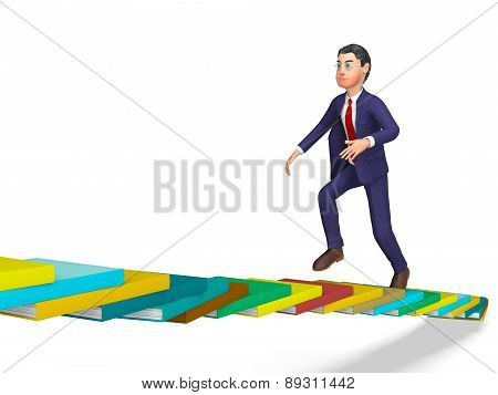 Businessman Going Up Represents Triumph Progress And Staircase