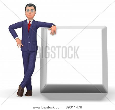 Businessman With Key Shows Empty Space And Blank