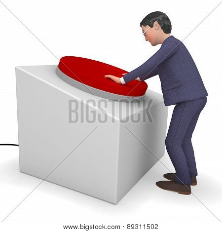 Businessman Pushed Button Shows Corporate Pushes And Pushing