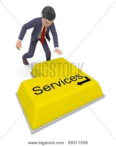 Businessman Selecting Services Represents Professional Businessmen And Biz