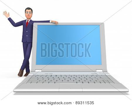 Businessman On Laptop Means Blank Space And Biz