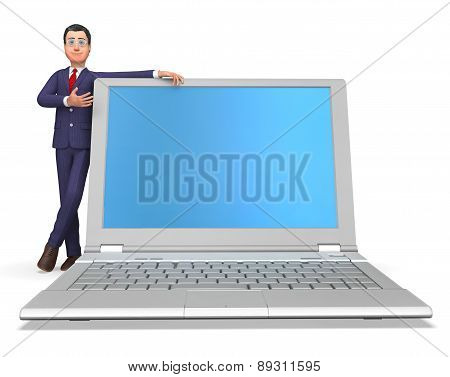 Businessman Presenting Means World Wide Web And Biz
