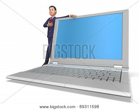 Businessman Presenting Means World Wide Web And Businessmen