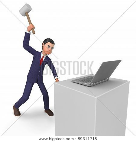 Businessman Angry Represents Executive Mad And Technology