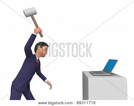 Businessman Angry Indicates Computing Internet And Keyboard