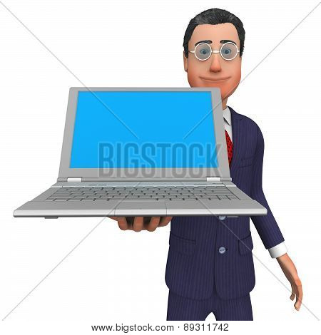 Businessman Presenting Shows Empty Space And Blank