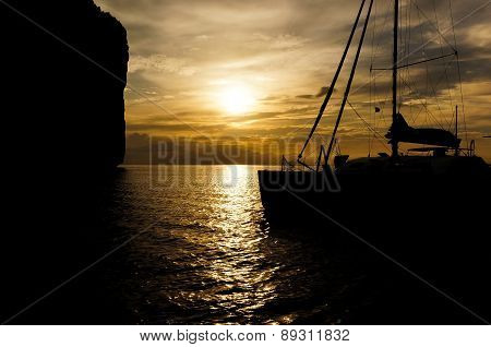Catamaran Silhouette In Sunset