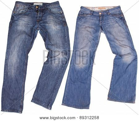 Man's and woman's blue jeans isolated on white background.
