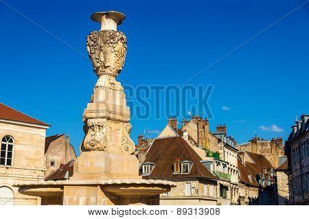 Fontaine De La Place De La Revolution In Besancon - France