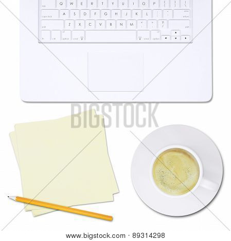 White laptop and note paper with pencil, top view