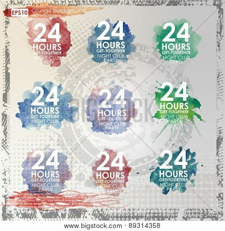 Set poster color Grunge background vector. Grunge print for t-shirt. Abstract dirt backgrounds texture. Grunge banner with an inky dribble strip with copy space. Abstract background for party