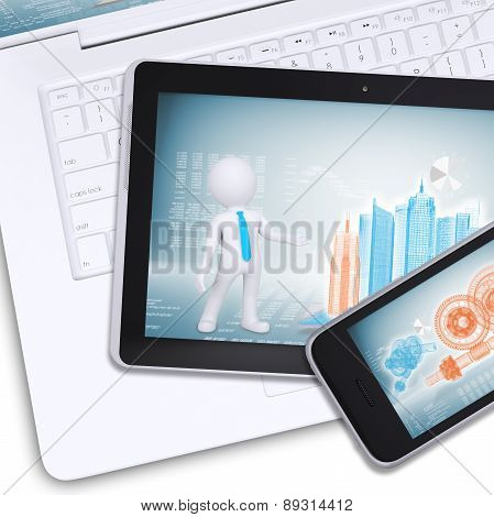 Tablet, mobile on laptop with engineering drawings