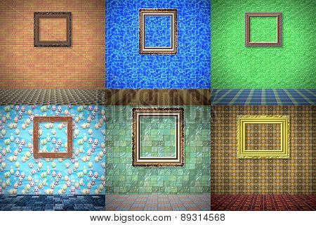 Set of Empty Room With Picture Generated Textures