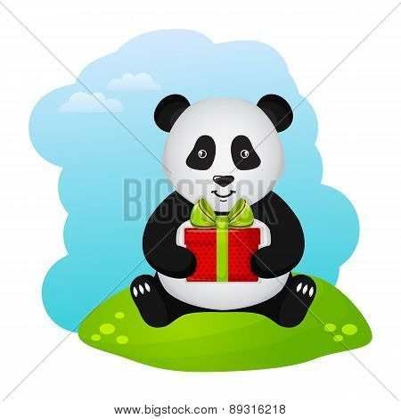Panda With Gift. Vector Illustration.