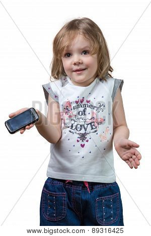 Confused Little Girl With A Phone In Hand