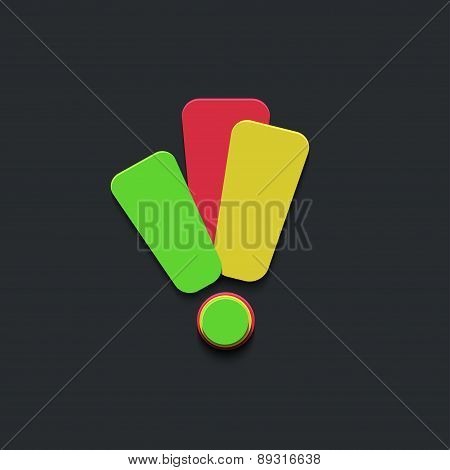 vector exclamation mark icon on black