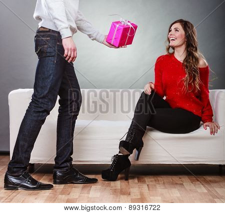 Man Giving His Girlfriend Gitft Box