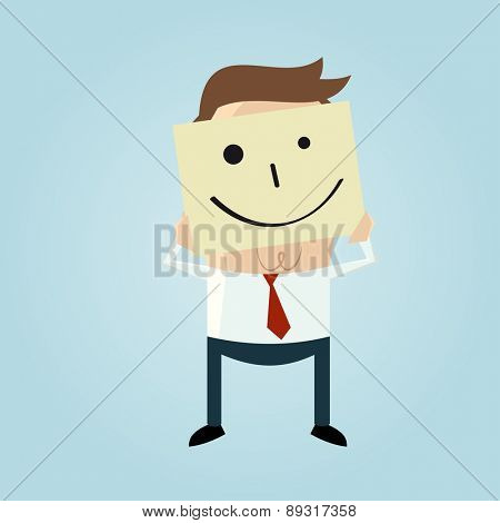 cartoon businessman hiding his face behind a smiley face doodle