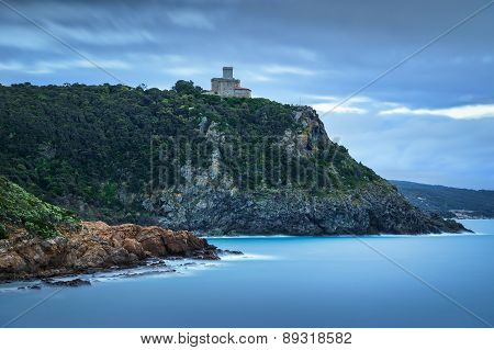 Cliff Rock And Building On The Sea On Winter. Quercianella, Tuscany Riviera, Italy