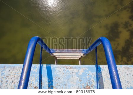 Blue rusty ladder