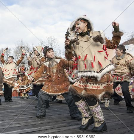 Folk Ensemble Performance In Dress Of Aborigine Of Kamchatka. Russia