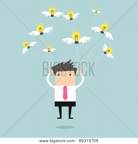 Businessman fly with idea bulb