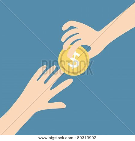 Two vector hands, giving money