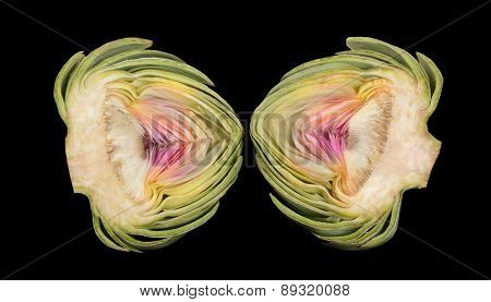 Beautiful Isolated Image of a cut Artichoke isolated on Black