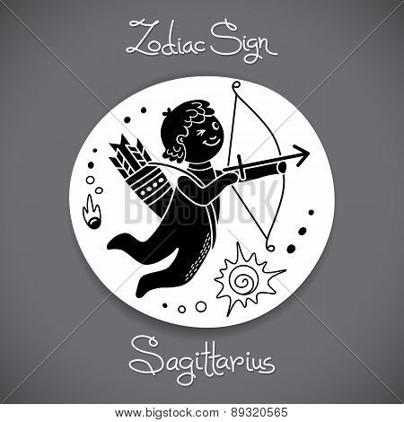 Sagittarius zodiac sign of horoscope circle emblem in cartoon style.