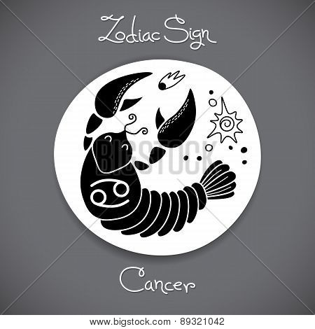 Cancer zodiac sign of horoscope circle emblem in cartoon style.