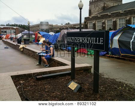 Kville With Tents On The Duke University Campus