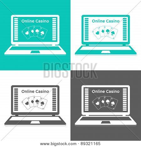 Set Of Icons. Online Casino. Playing Cards On A Laptop Monitor. Flat Design.
