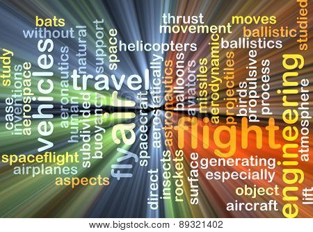 Background concept wordcloud illustration of flight glowing light