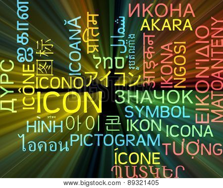 Background concept wordcloud multilanguage international many language illustration of icon glowing light