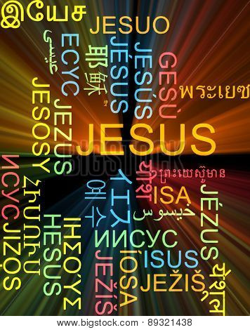 Background concept wordcloud multilanguage international many language illustration of Jesus glowing light